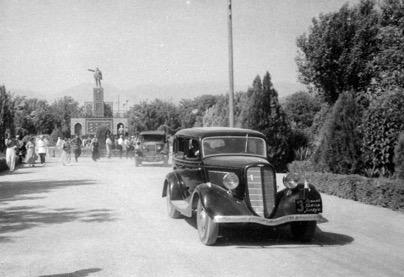 GAZ-A vehicles are leaving the Palace of the Emir of Bukhara. Samarkand, 1936