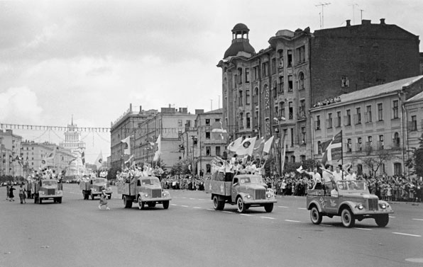 GAZ-51 and GAZ-69 vehicles at the 6-th world youth festival. Moscow. 1957